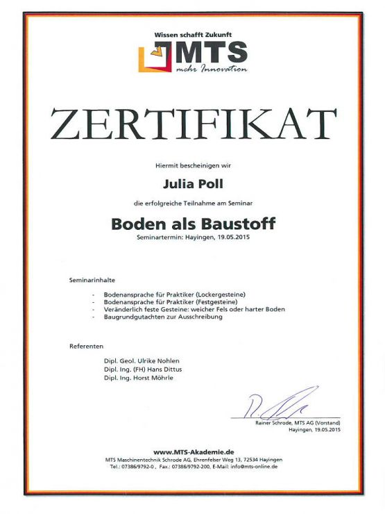 Seminar Zertifikat