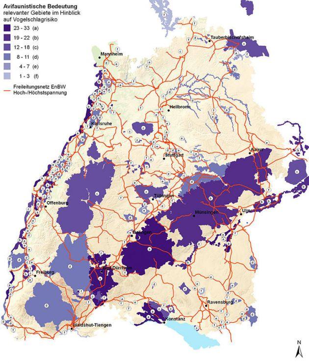 Karte Avifaunistische Bedeutung