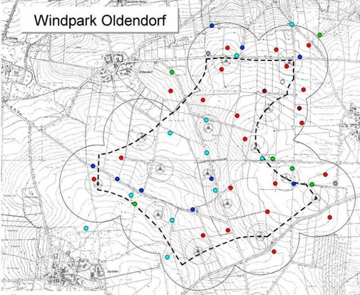Karte Windpark Oldendoerf
